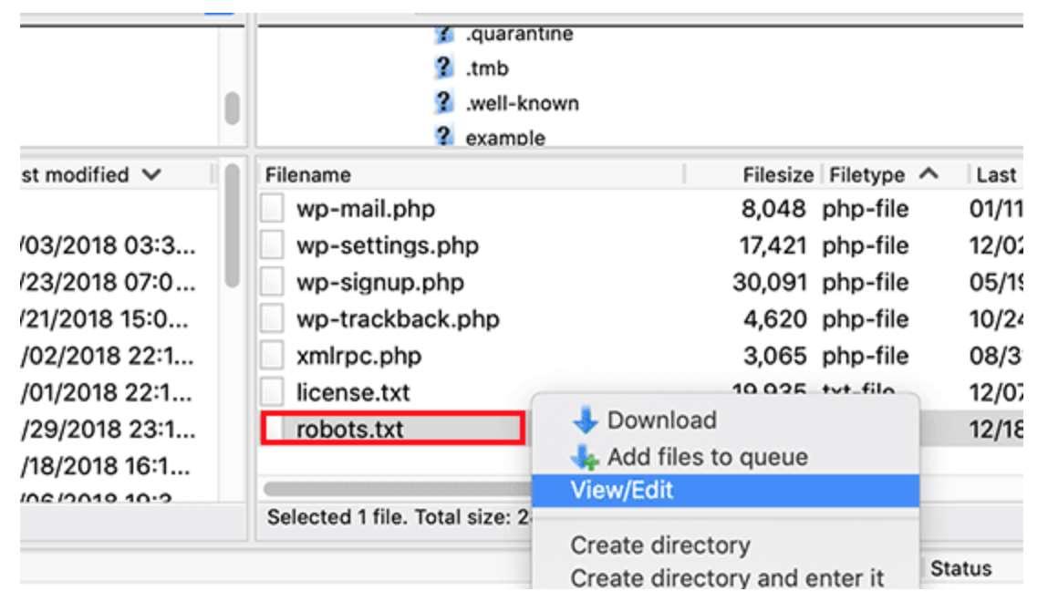 تعديل ملف robots.txt في ووردبريس من خلال FTP